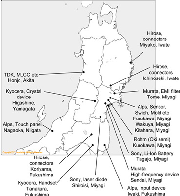 Detail Japan map with earthquake-impacted electronics companies