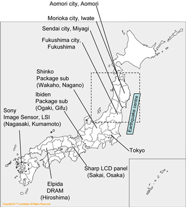 Map of Japan with electronics companies and earthquake location