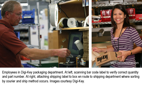 Employees in Digi-Key packaging department. At left, scanning bar code label to verify correct quantity and part number. At right, attaching shipping label to box en route to shipping department where sorting by courier and ship method occurs.