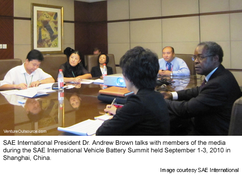 SAE International President Dr. Andrew Brown talks with members of the media  during the SAE International Vehicle Battery Summit held September 1-3, 2010 in Shanghai, China.
