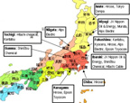 Map with Japanese electronics companies
